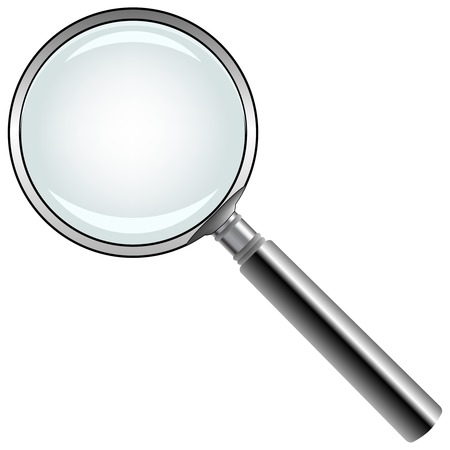 observations: magnifying glass against white background, abstract vector art illustration