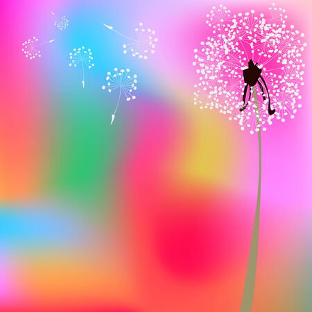 dandelion composition, abstract vector art illustration Vector