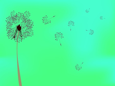 dandelion against green background, abstract vector art illustration