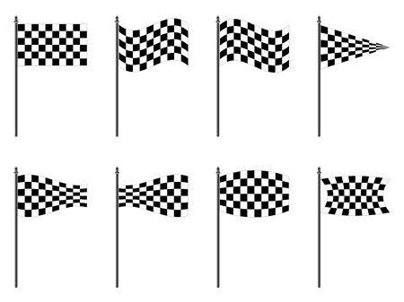 rallying: checkered flags collection against white background, abstract vector art illustration