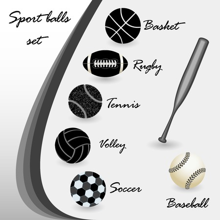soccer: sport balls set, isolated silhouettes; abstract vector art illustration