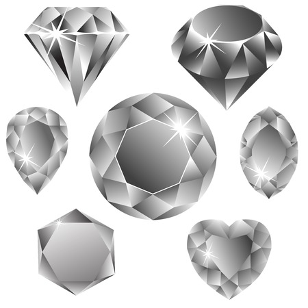 diamonds collection against white background, abstract vector art illustration Stock Illustratie