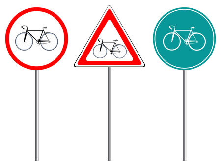 bike traffic signs against white background, abstract vector art illustration Stock Vector - 7590735