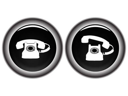 bakelite: telephone black icons against white background, abstract vector art illustration Illustration