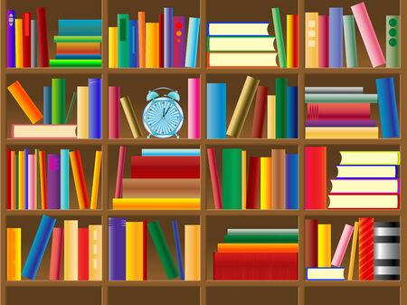 houten bookshelf vector, abstracte kunst illustratie Stock Illustratie