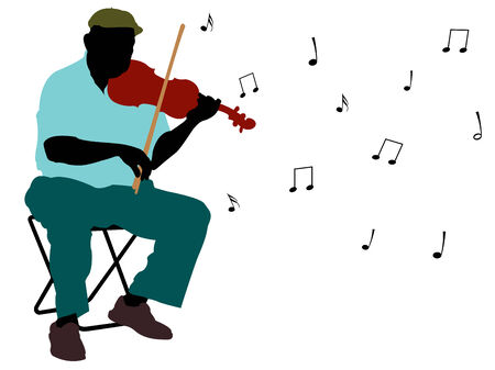 man playing violin silhouette, abstract   art illustration Stock Vector - 7824226