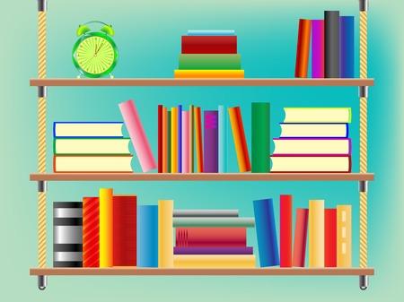 suspended bookshelf, abstract  art illustration Ilustrace