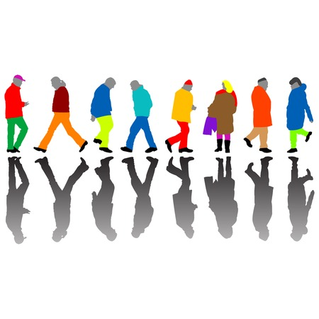 people colored silhouettes against white background, abstract  art illustration Vector