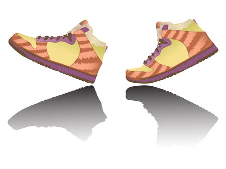 walking shoes against white background, abstract  art illustration