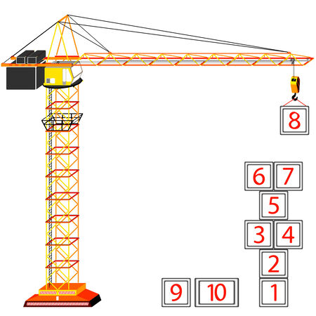 hopscotch building concept and crane against white background, abstract  art illustration