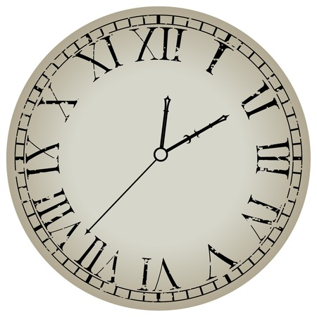 ancient clock against white background, abstract   art illustration