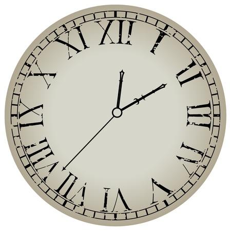 reloj antiguo sobre fondo blanco, ilustración de arte abstracto Ilustración de vector