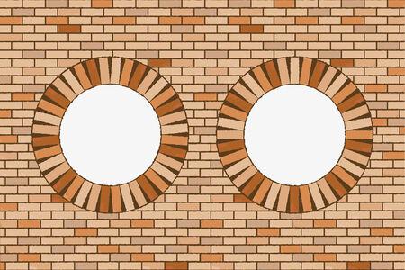 round brick windows, abstract art illustration