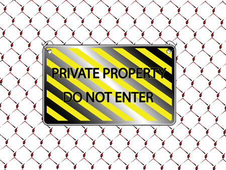 do not enter inscription and metallic fence, abstract  art illustration Vector