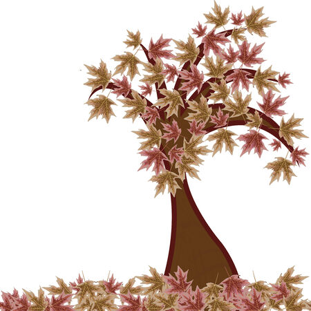 autumn tree against white background, abstract  art illustration