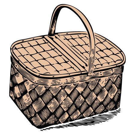 picnic basket against white background, abstract vector art illustration
