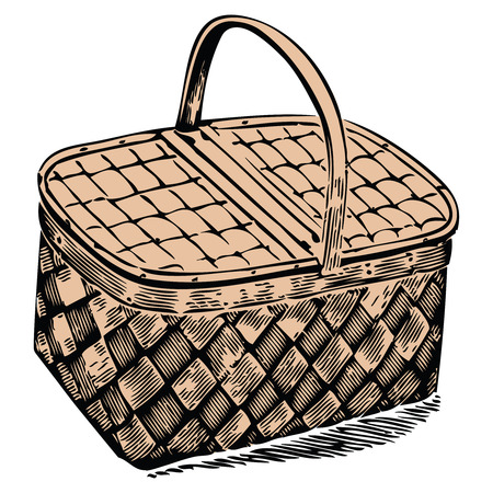 picnic basket against white background, abstract vector art illustration