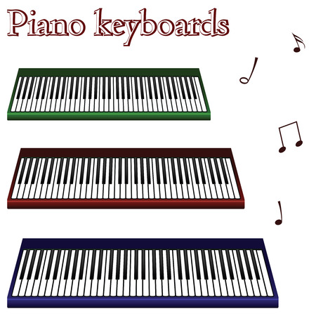 acoustically: piano keyboards against white background, abstract vector art illustration