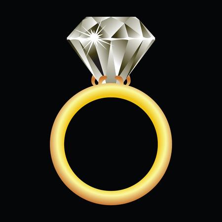 bague de fiancaille: anneau de diamants sur fond noir, vecteur abstract art illustration