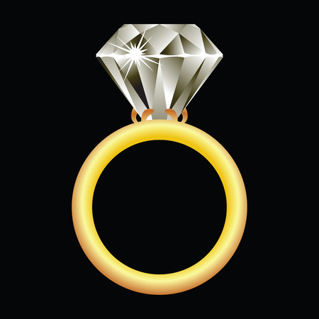 diamond ring against black background, abstract vector art illustration Illustration