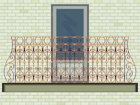 벽 배경, 추상적 인 벡터 예술 그림에 대 한 철 발코니