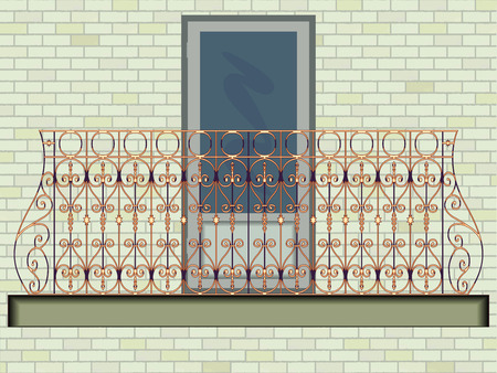 balcony: iron balcony against wall background, abstract vector art illustration