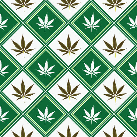 cannabis seamless texture, abstract pattern; vector art illustration Vector