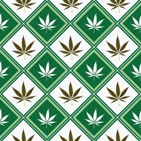 weed: cannabis seamless texture, abstract pattern; vector art illustration Illustration