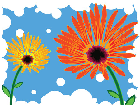 flowers against blue background, abstract vector art illustration