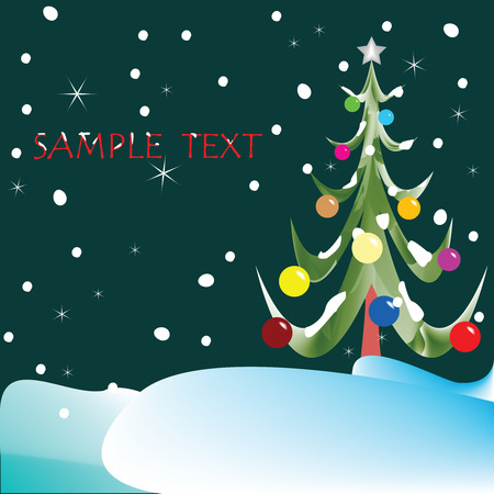 christmas tree composition, abstract vector art illustration Vector