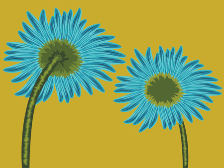 back view: flower front and back view, abstract vector art illustration