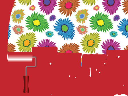 flowers painted wall, abstract art illustration