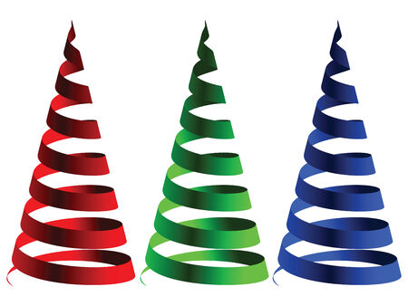 cone rgb ribbons against white background, abstract art illustration Illustration