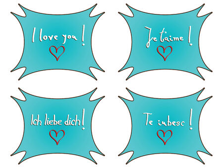 I love you notes against white background, abstract art illustration