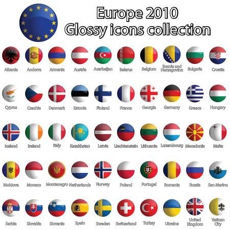 bandiere del mondo: collezione di icone lucida Europa su sfondo bianco, illustrazione di arte astratta