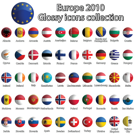 Europe glossy icons collection sur fond blanc, d'art abstrait illustration Banque d'images - 8133134