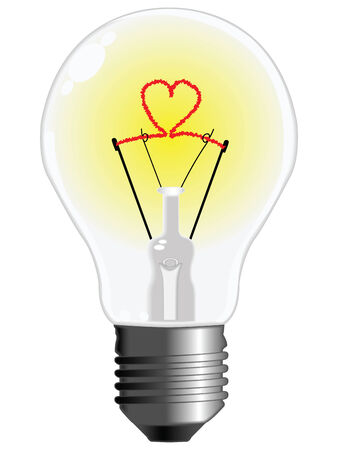 light bulb with heart against white background, abstract art illustration Stock Vector - 8133076
