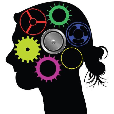 hersenen mechanisme, abstracte kunst illustratie