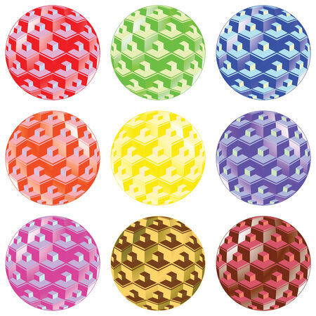 bubbles with squares against white background, abstract art illustration Vector