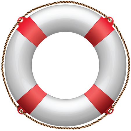 life buoy against white background, abstract art illustration