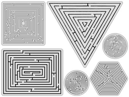 mazes collection against white background, abstract art illustration Иллюстрация
