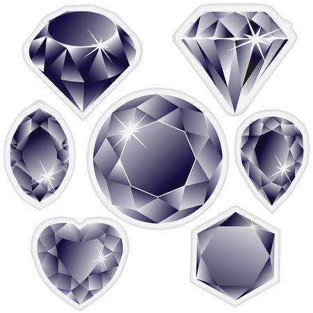 diamonds labels against white background, abstract art illustration Illustration