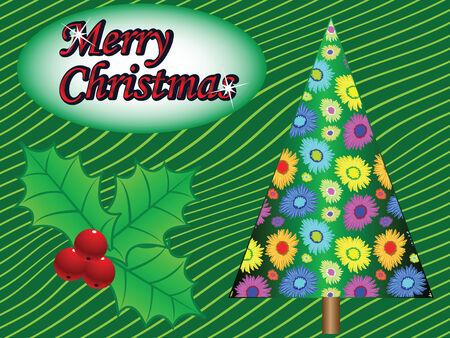 merry christmas tree card, abstract art illustration Vector