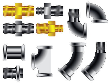 screw: water pipe connectors against white background, abstract art illustration