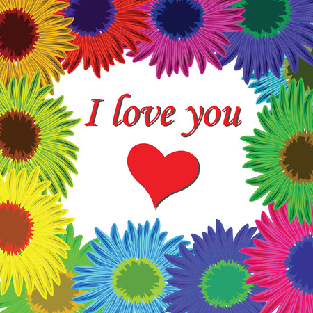 i love you sign: flowers frame with text, abstract art illustration Illustration