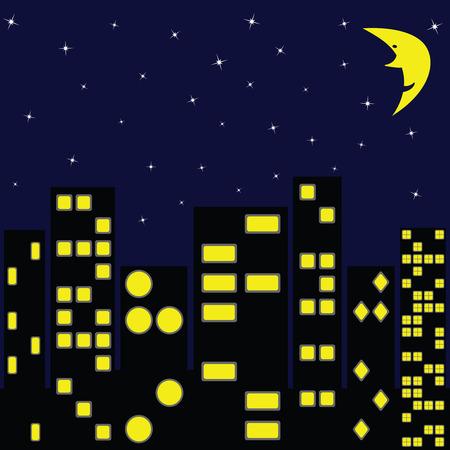 city in night, abstract art illustration Stock Vector - 8133075