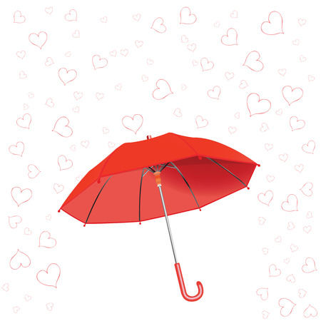 hearts fall and umbrella against white background, abstract vector art illustration Vector