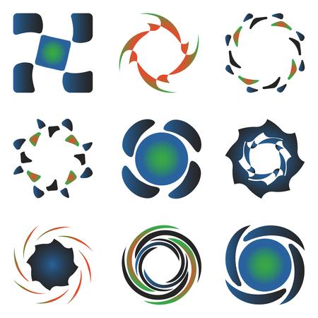 추상적 인 벡터 아트 그림 흰색 배경에 다양 한 디자인 요소 컬렉션