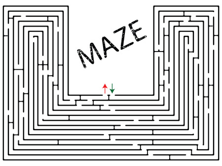 labyrinth: maze against white background, abstract vector art illustration