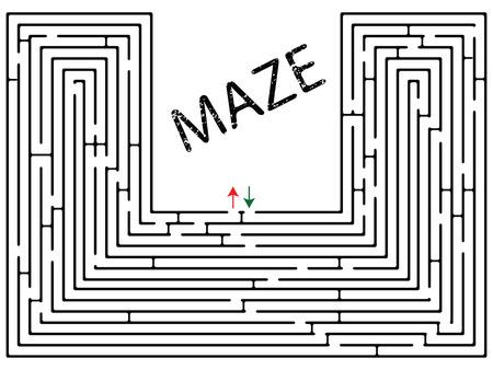doolhof: Maze tegen witte achtergrond, abstract vector kunst illustratie